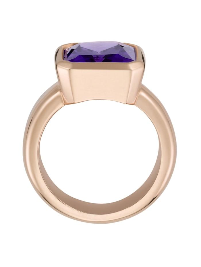 Ring mit lila Zirkonia, rosé vergoldet, Silber 925