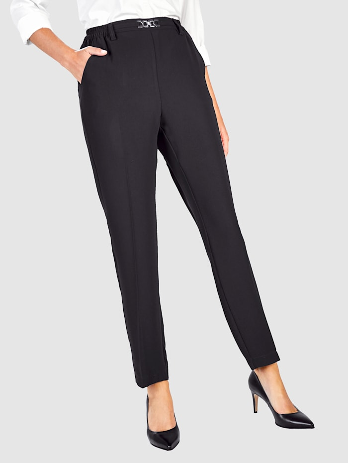 Paola Suorat housut helposti päälle puettava malli, Musta