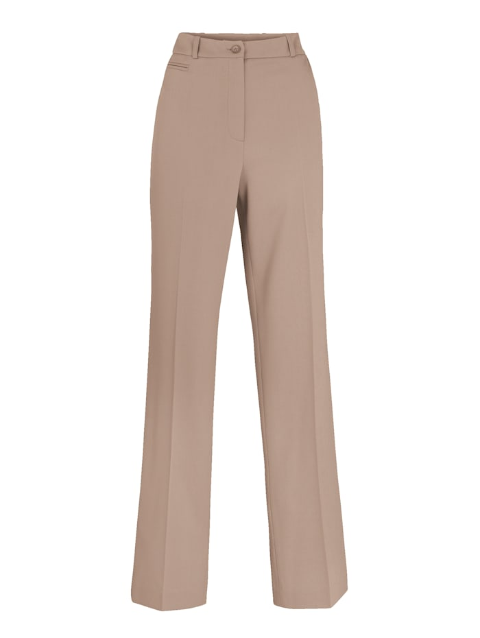 Straight leg trousers made from bi-stretch fabric