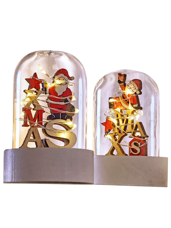 Sett med 2 julenisser i glasskuppel, flerfarget