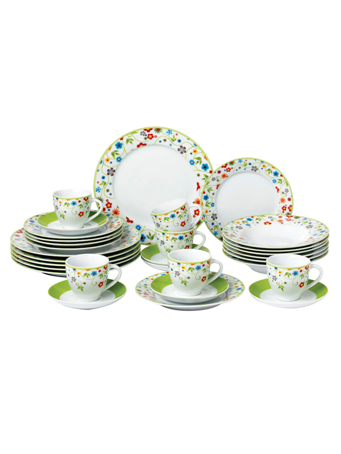 Van Well 12-delig servies Vario Flower, Multicolor