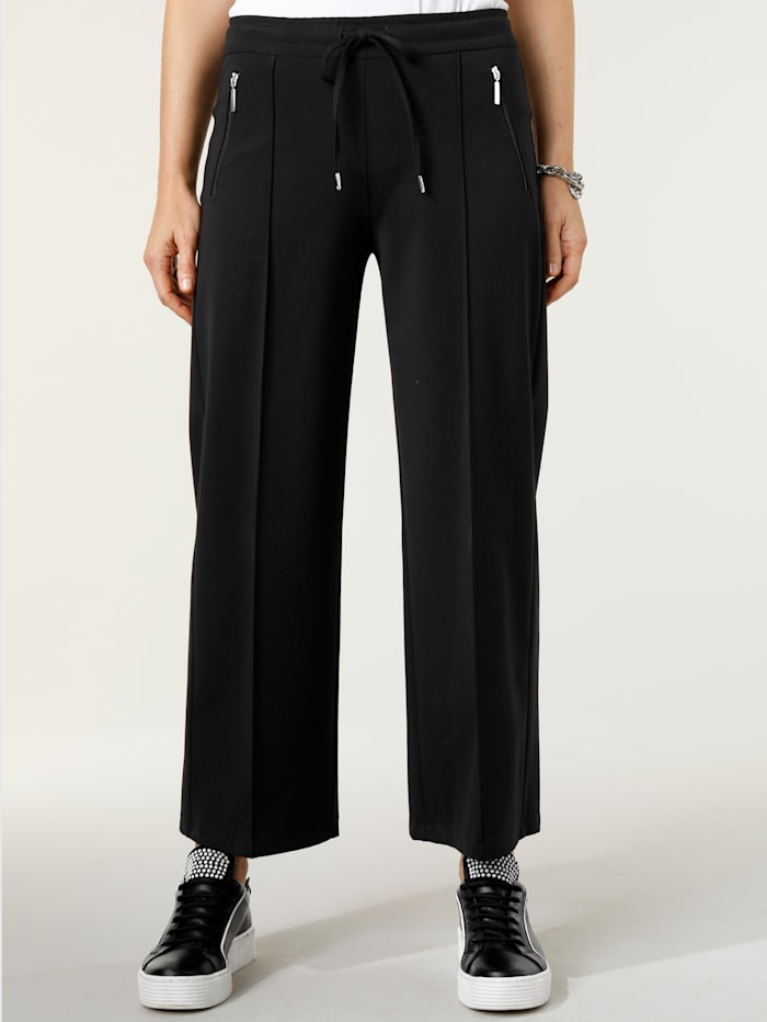 MONA Cropped trousers with front crease, Black