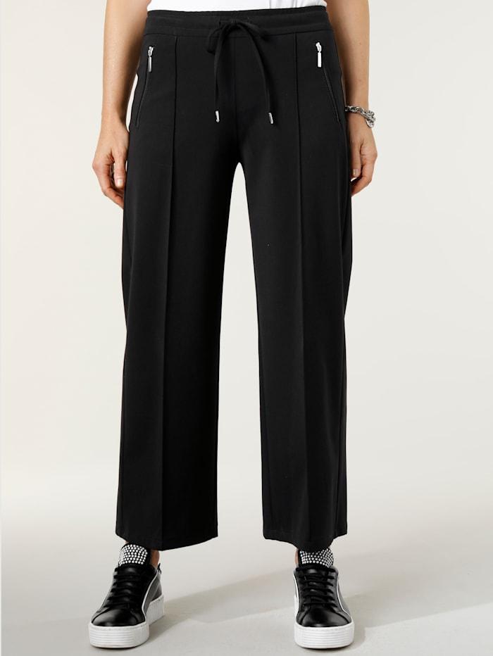 MONA Pantalon 7/8 à biais surpiqués, Noir