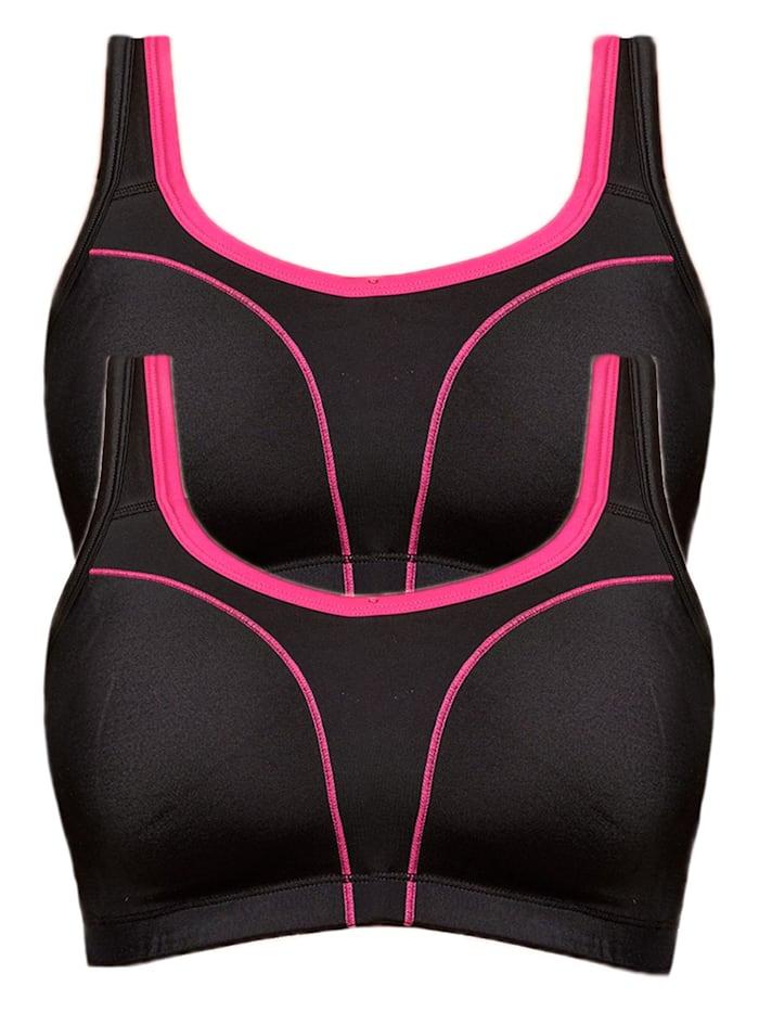 Susa 2er Sparpack Sport BH, schwarz-pink-schwarz-pink