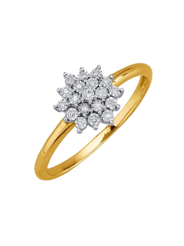 KLiNGEL Damesring met diamanten, Geelgoudkleur