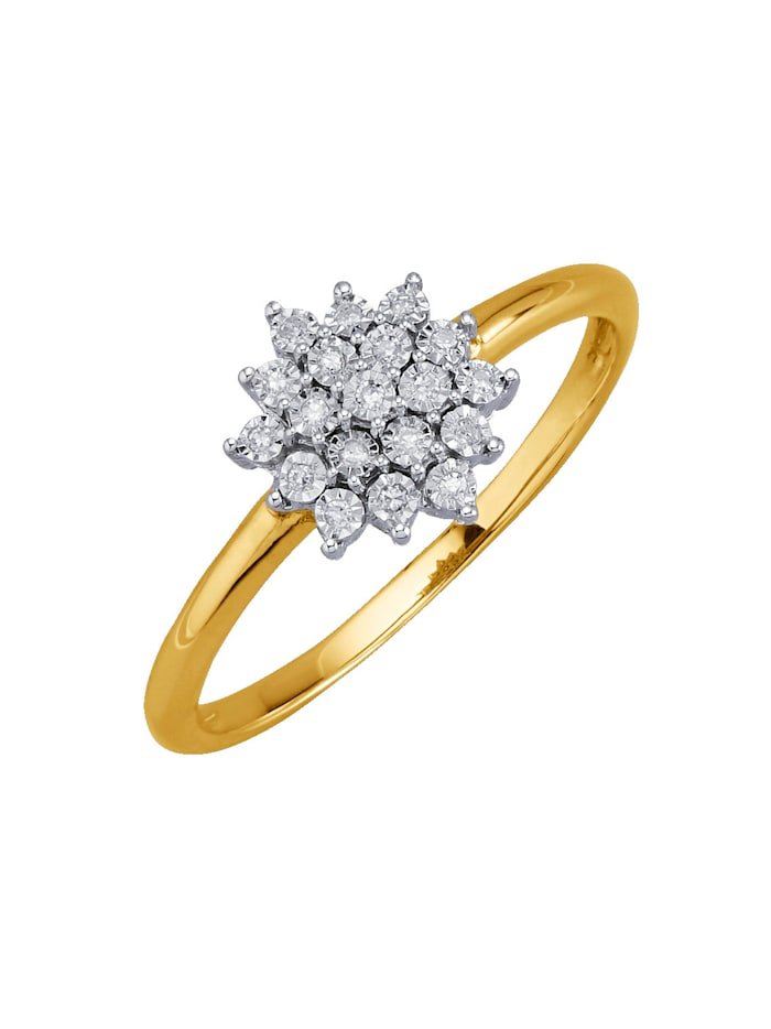Ring med diamanter, Guldfärgad
