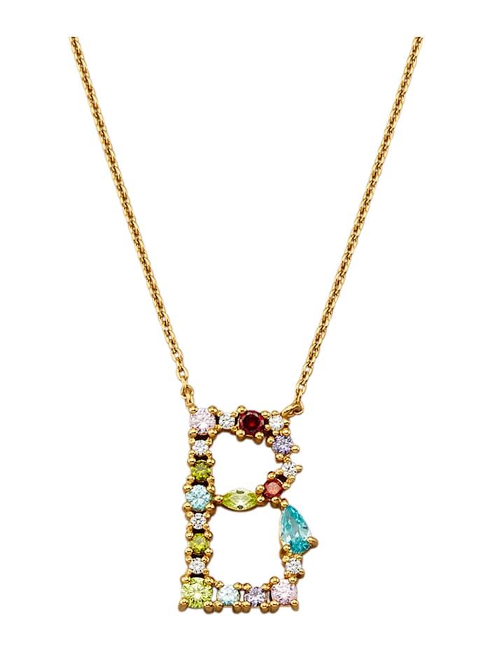 Collier Letter B met multicolor synth. zirkonia's, Multicolor