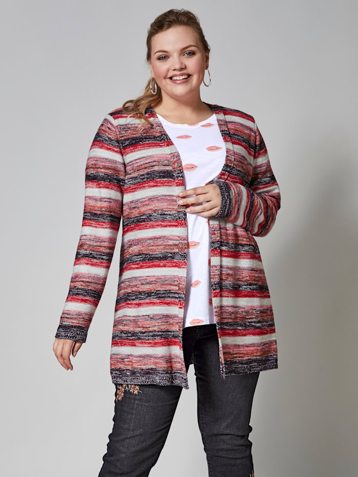 Long-Strickjacke gestreift