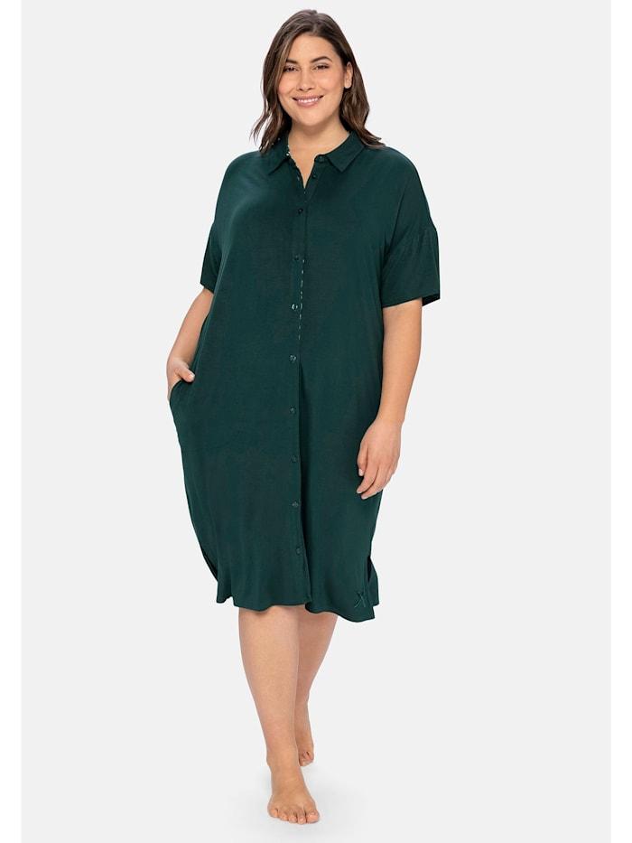 Sheego Nachthemd im Hemdblusenstil mit seitlichen Taschen, tiefgrün