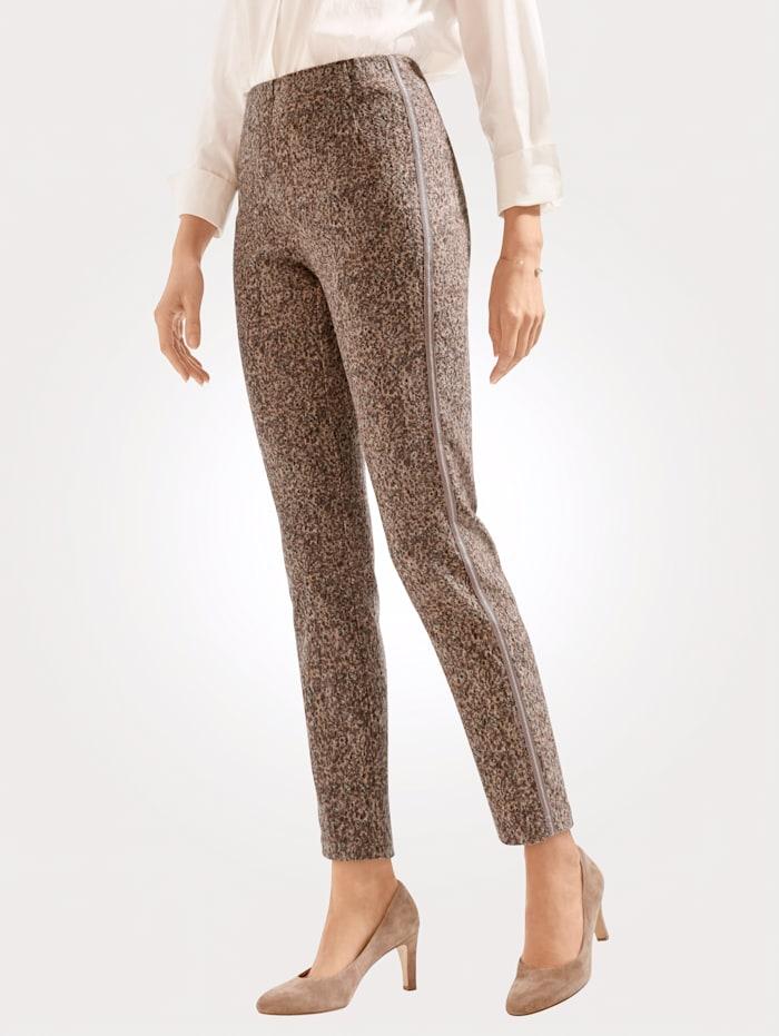 MONA Pantalon à imprimé graphique, Beige/Marron