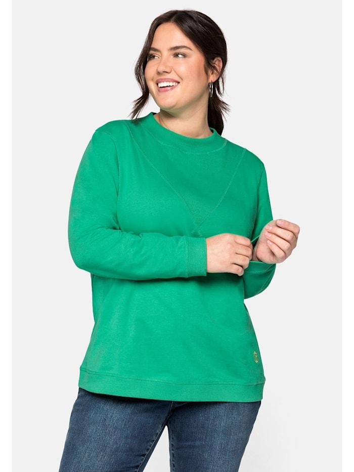 Sheego Sheego Sweatshirt aus reiner Baumwolle, blattgrün