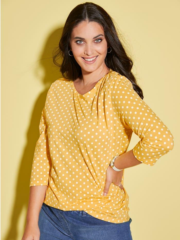 MIAMODA T-shirt à encolure féminine, Jaune/Blanc