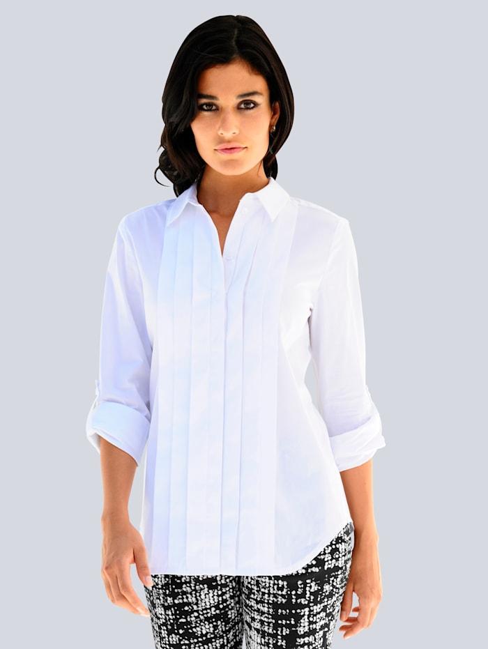 Alba Moda Bluse mit Biesen im Vorderteil, Weiß