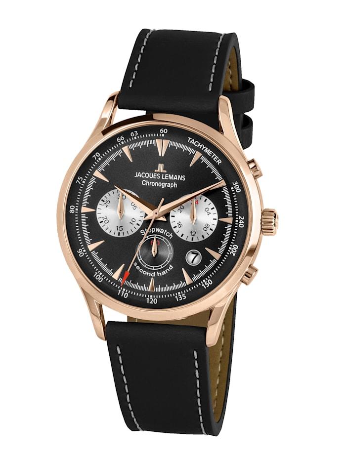 Jacques Lemans Herren-Uhr Chronograph Serie: Retro Classic, Kollektion: Retro Classic: 1- 2068E, Schwarz