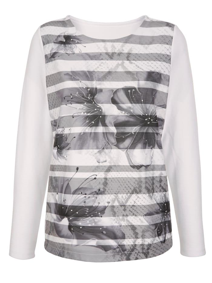 Paola Sweatshirt in Struktur Qualität, Schwarz/Weiß