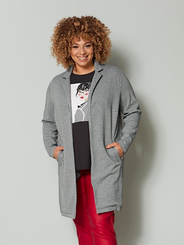 Angel of Style Jersey blazer met ruitdessin, Zwart/Wit