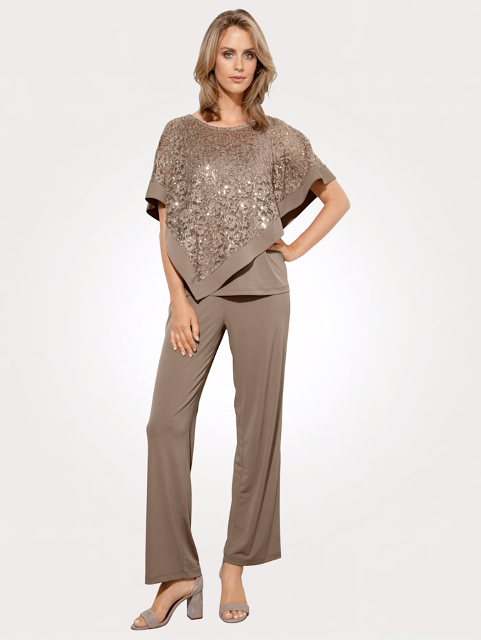 MONA Top and trouser set in soft jersey, Taupe