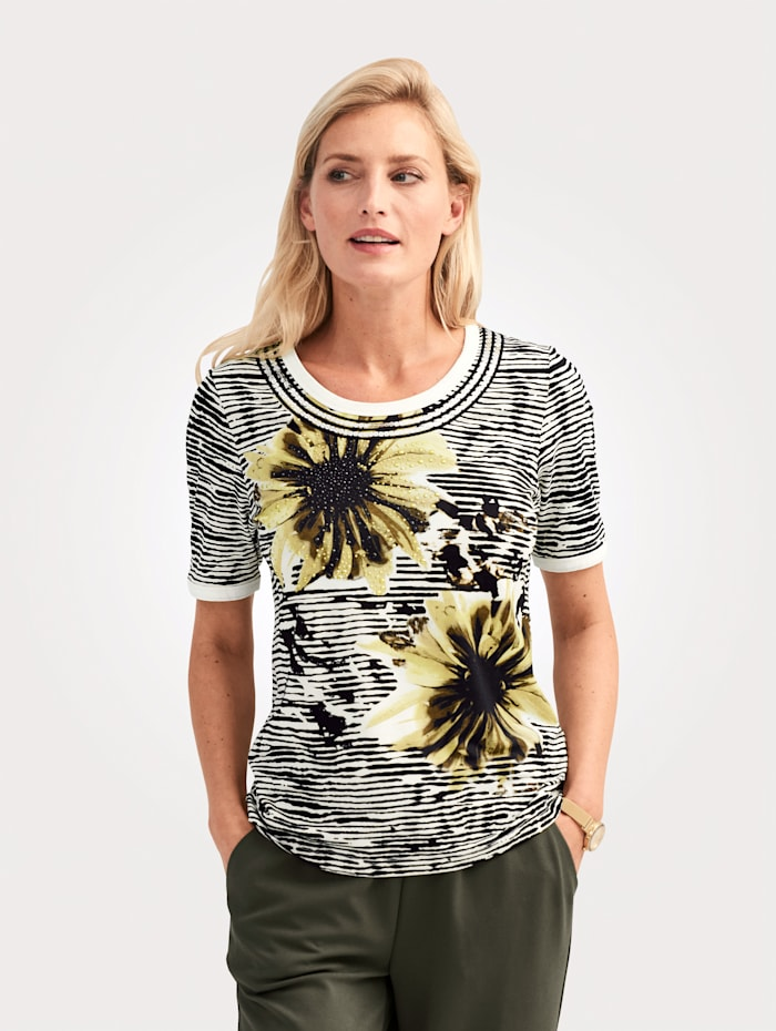 MONA Shirt mit Paillettenbänder und Metallplätchen, Oliv/Ecru