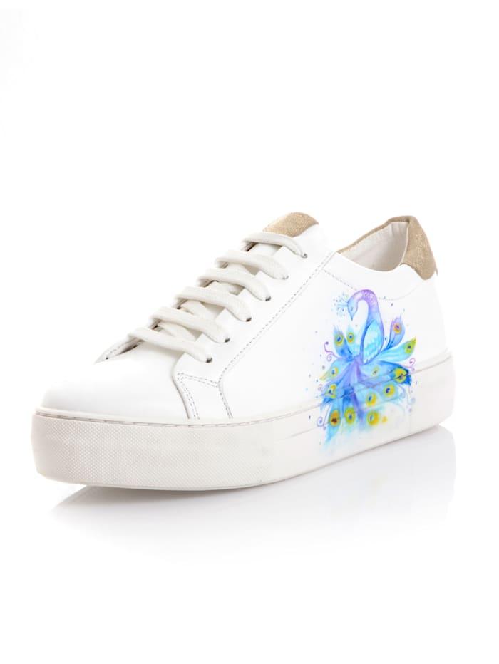 Alba Moda Sneaker met opvallende pauwenprint, Wit/Blauw