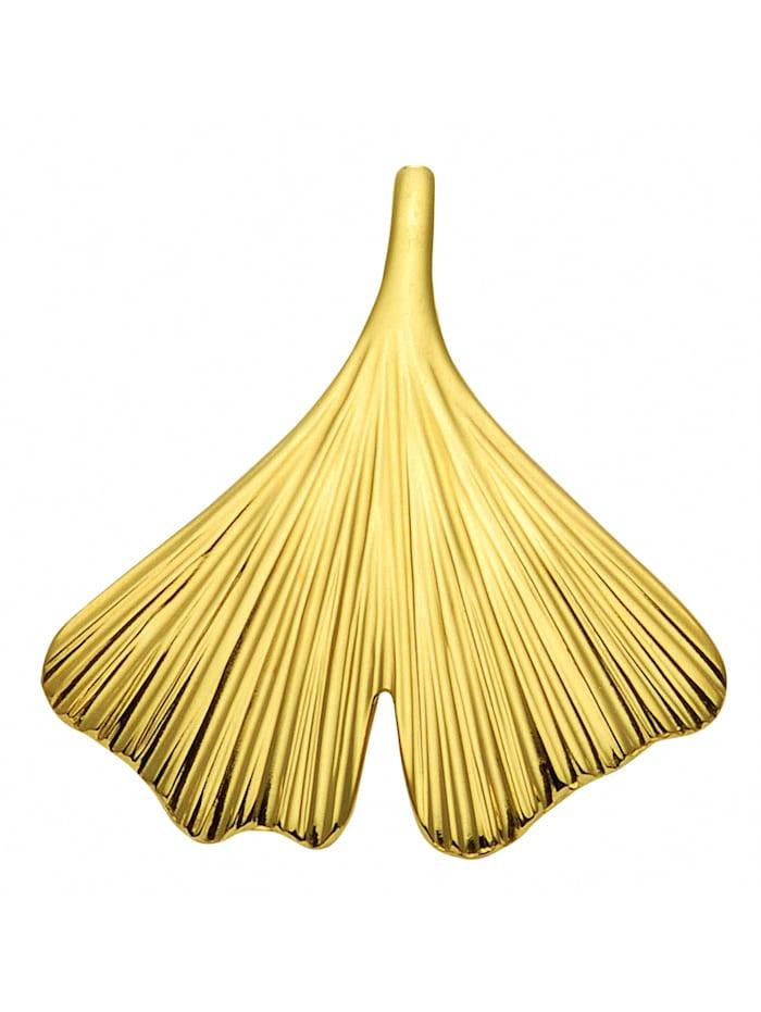 1001 Diamonds Damen Goldschmuck 375 Gold Anhänger Ginkoblatt, gold