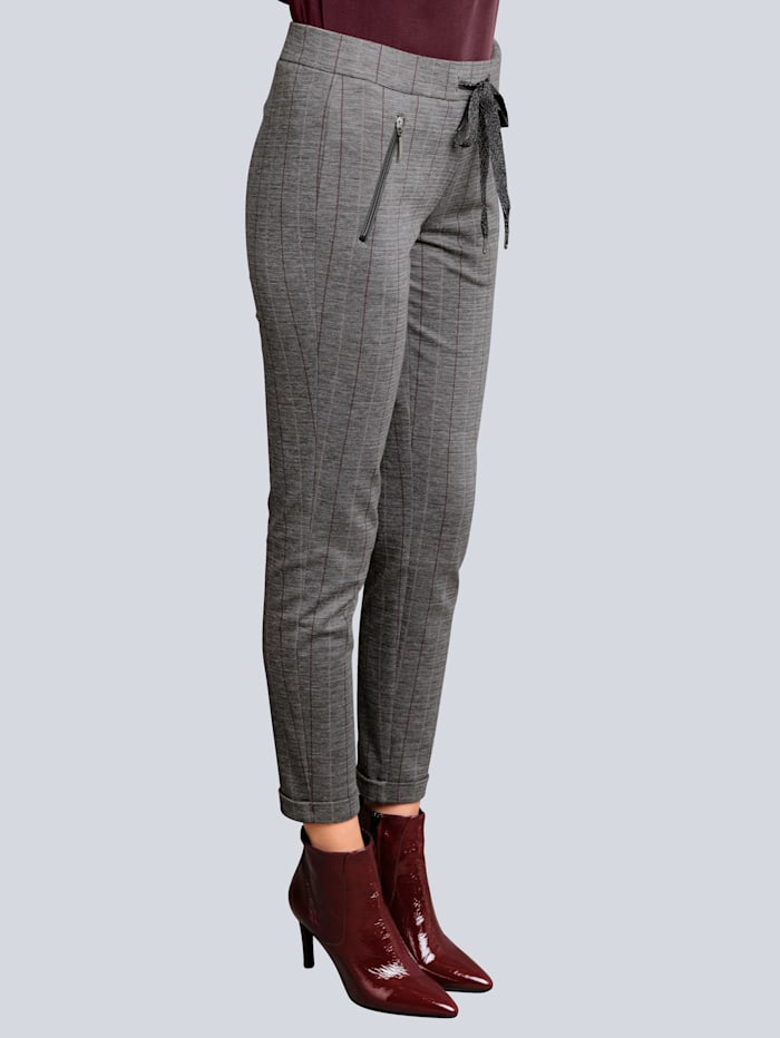 Alba Moda Pantalon à fines rayures contrastantes, Bordeaux