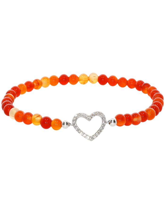 1001 Diamonds Herz Karneol Armband 925 Silber 17 cm, orange