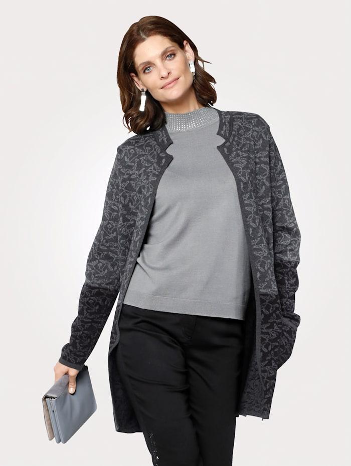 MONA Strickjacke aus reiner Baumwolle, Anthrazit/Grau