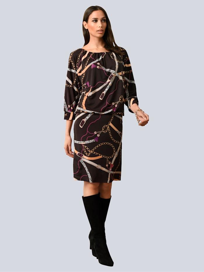 Kleid im ketten-Dessin allover
