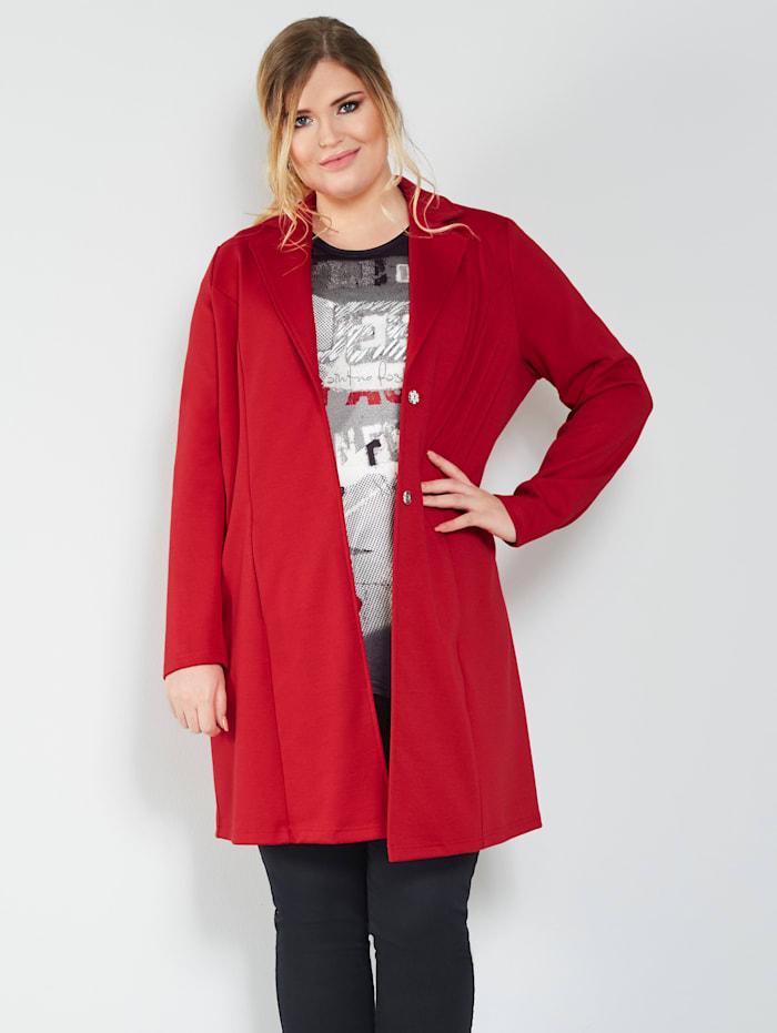 MIAMODA Sweatshirtjacka med krage och slag, Röd
