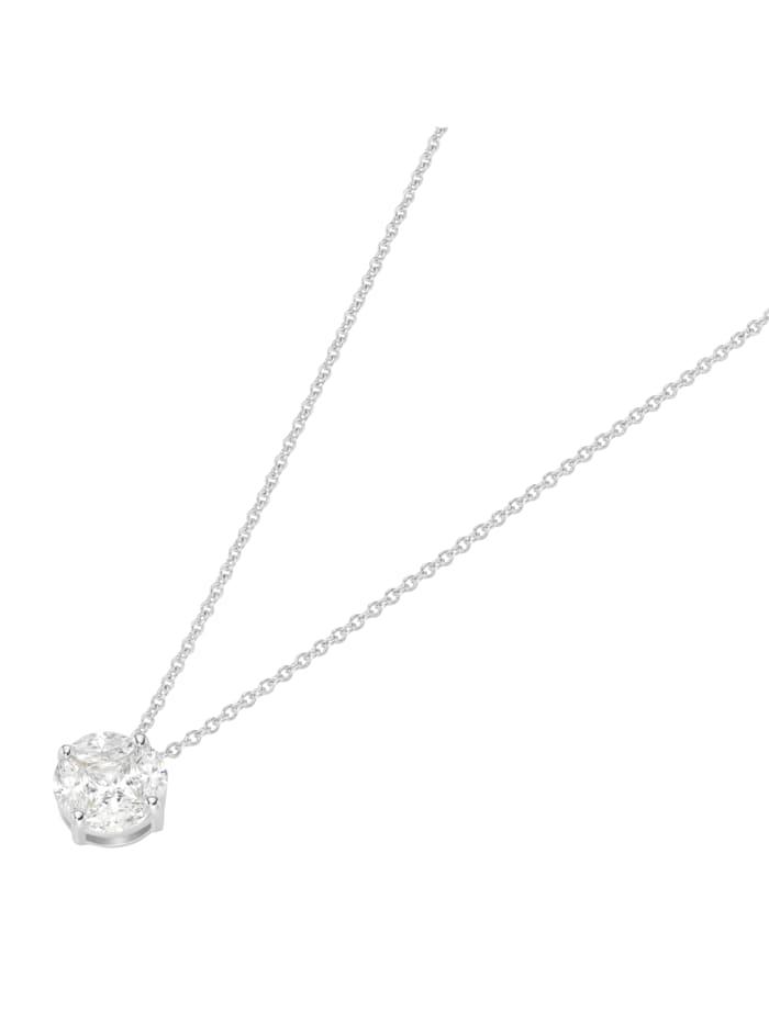 Smart Jewel Kette rund mit Zirkonia Steinen, Silber 925, Weiss