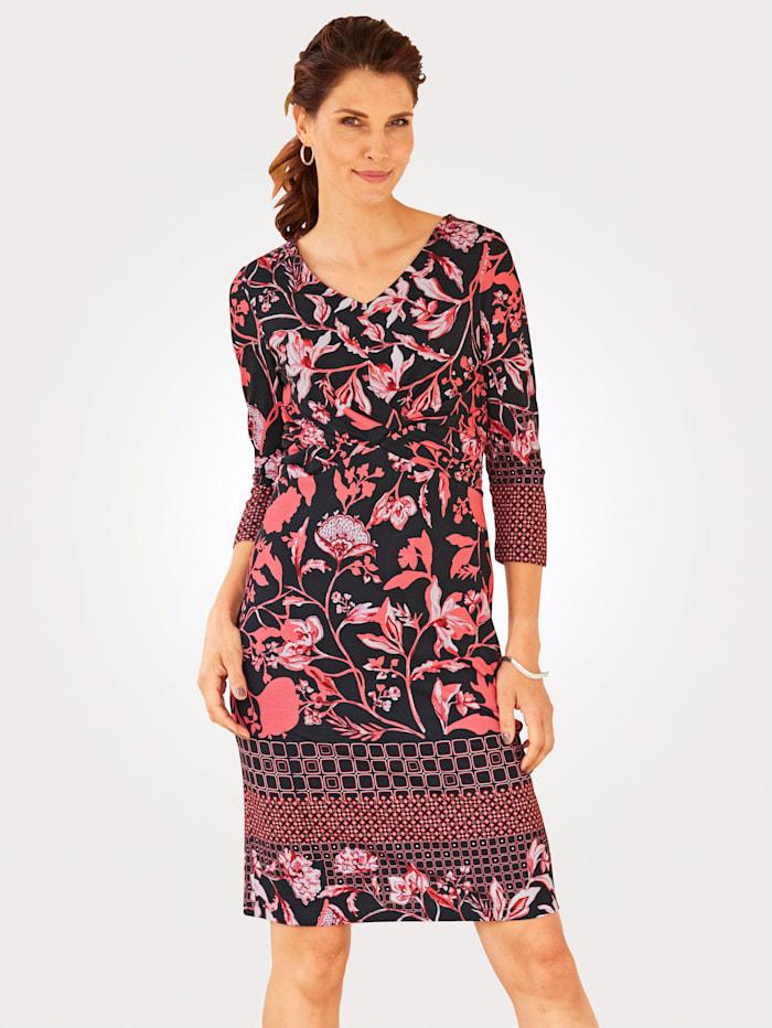 MONA Robe en jersey à motif floral de coloris harmonieux, Corail/Noir