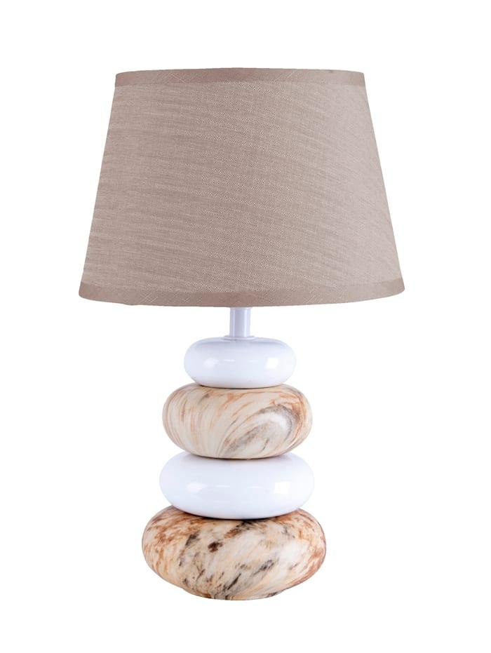 Näve Bordslampa, vit/brun