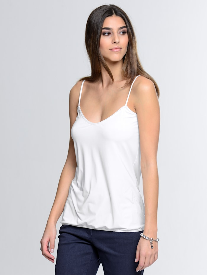 Alba Moda Débardeur à bordure crochetée, Blanc