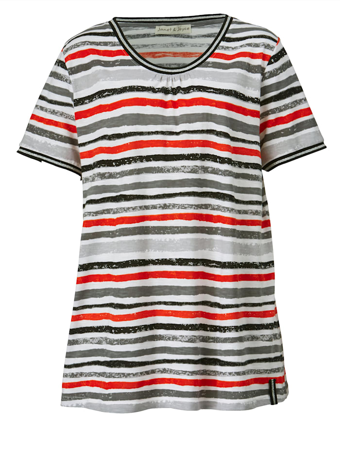 Shirt mit Glitzereffekt am Ausschnitt und an den Ärmeln