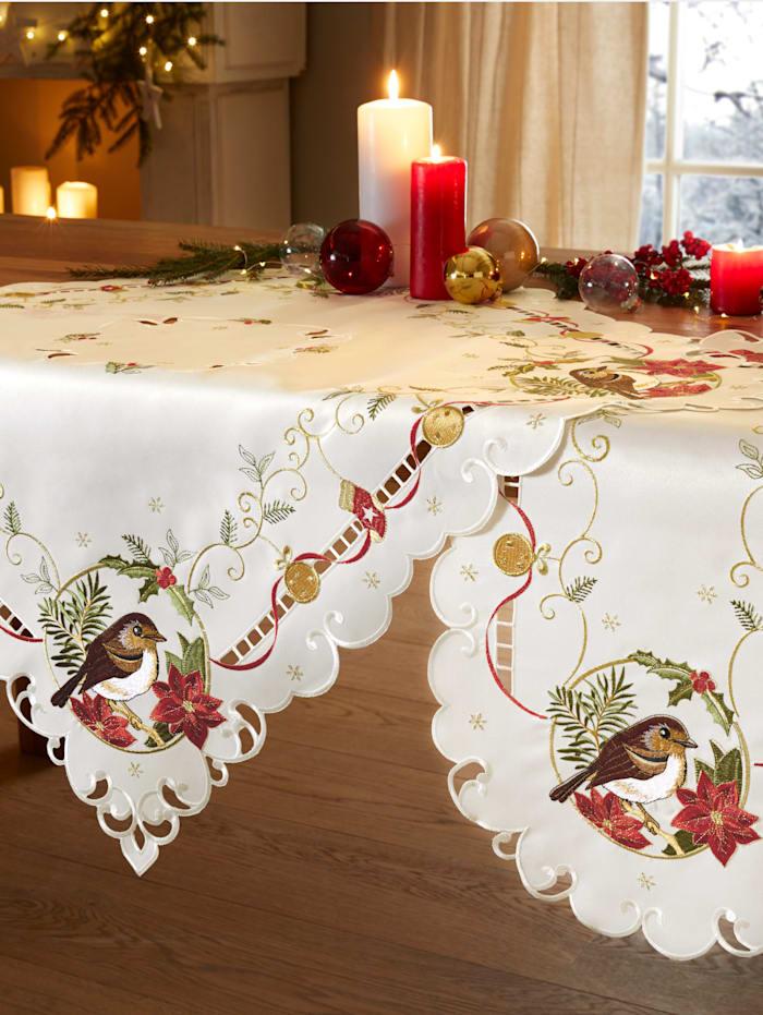 Schäfer Dukserie med fåglar och julstjärnor, crèmefärgad/röd