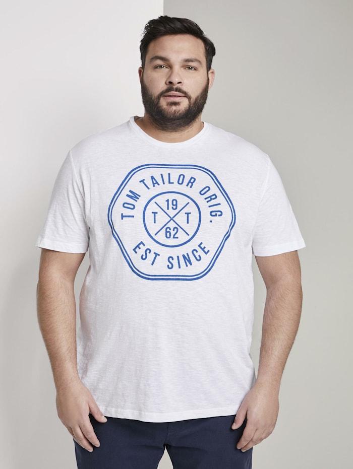 Tom Tailor Men Plus T-Shirt mit Print, White