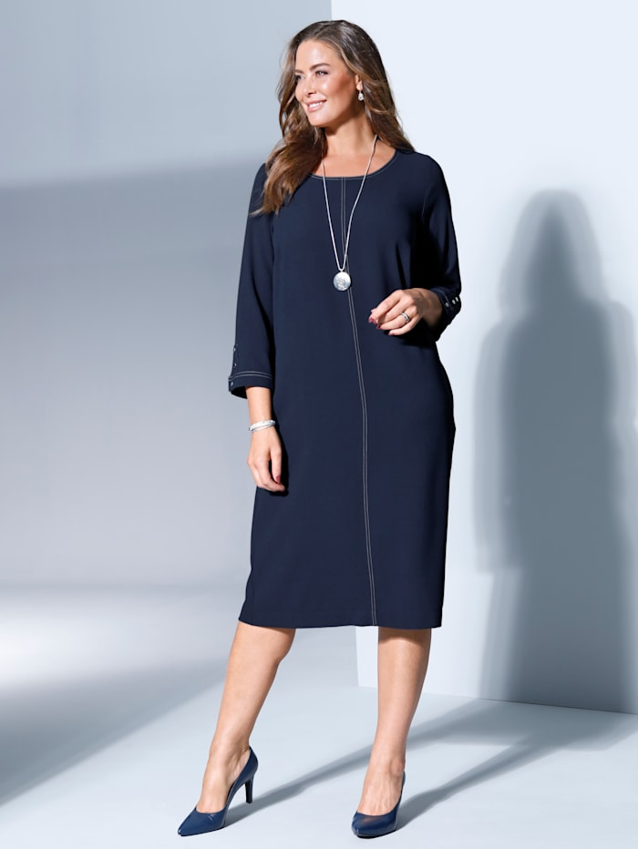 MIAMODA Kleid aus edler Crepe-Ware, Marineblau