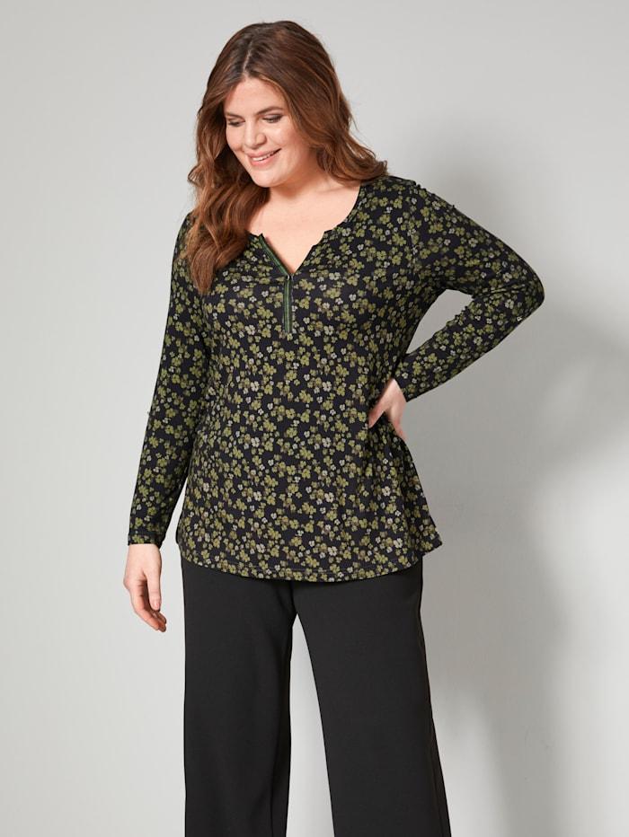 Janet & Joyce Shirt mit floralem Druck, Schwarz/Moosgrün
