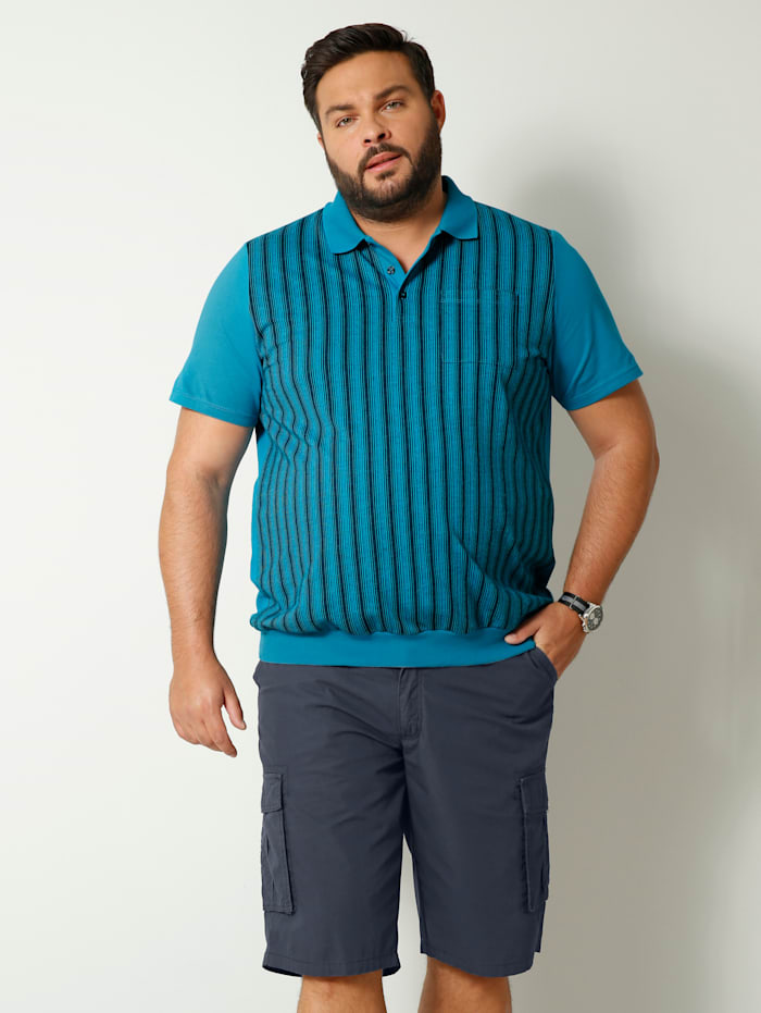 Men Plus Poloshirt in speciaal model, Turquoise/Marine