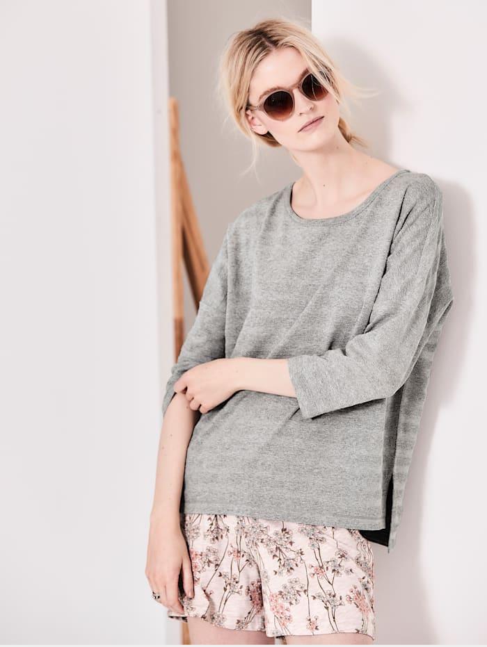 Pullover Materialmix in Streifenoptik
