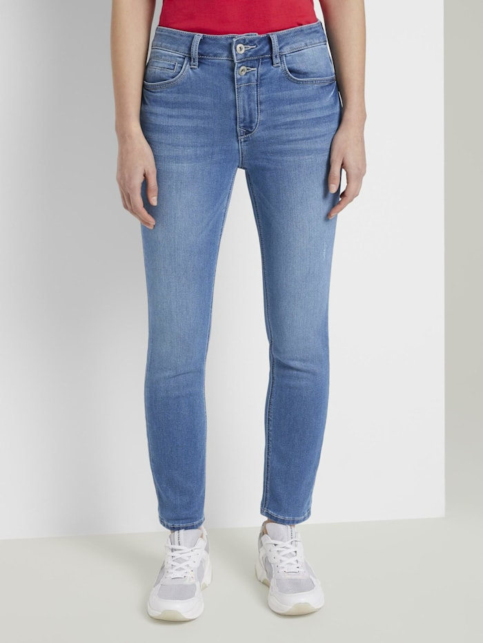 Tom Tailor Kate Slim Jeans in Ankle-Länge, mid stone bright blue denim