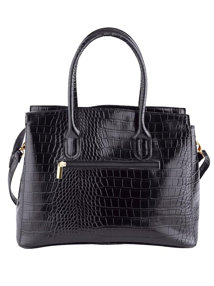 Väska med krokopräglat mönster
