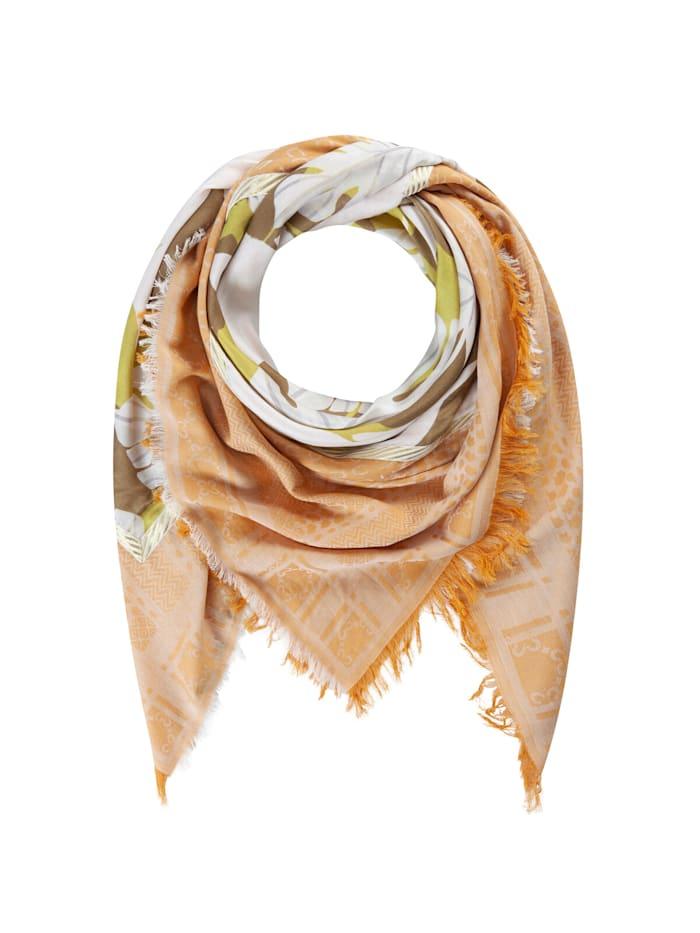 Codello Premium Logo-Tuch mit Blätter-Motiv aus Baumwolle und Modal, orange