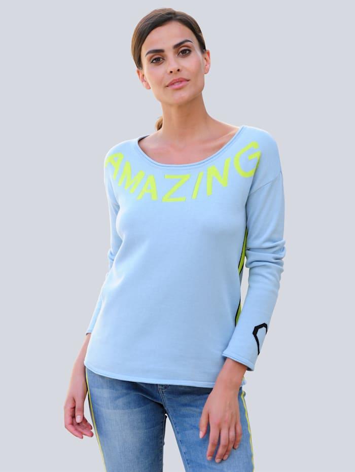Alba Moda Pullover mit Schriftzug, Hellblau/Limettengrün