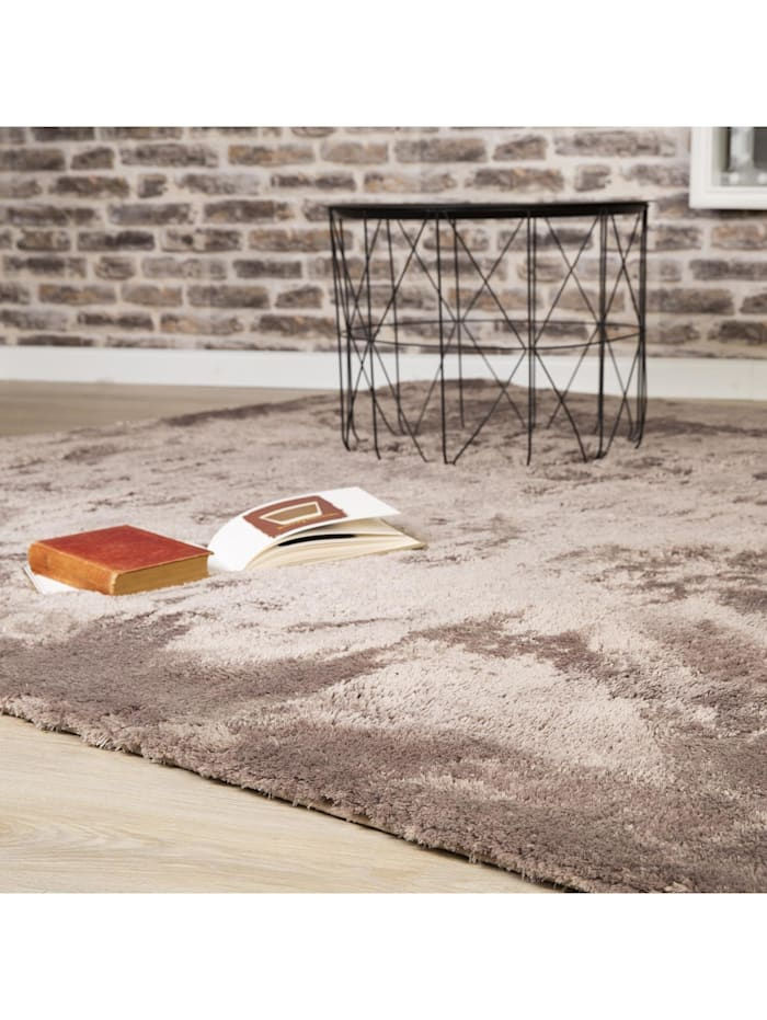 Langflor Teppich Shaggy hand tufted taupe