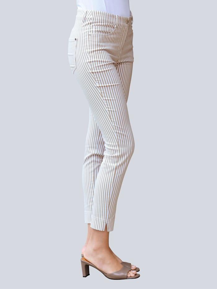 Alba Moda Hose im Streifen-Dessin, Beige/Off-white