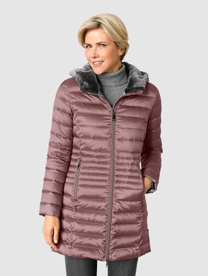 Barbara Lebek Péřová bunda s kapucí s kožešinou, Růžová