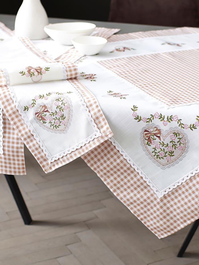 Webschatz Tischwäsche 'Mariette', sekt/braun