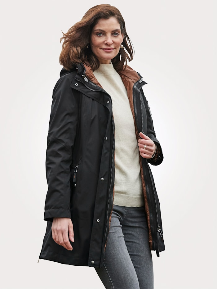 Barbara Lebek 2-in-1-outdoorjas, Zwart/Cognac
