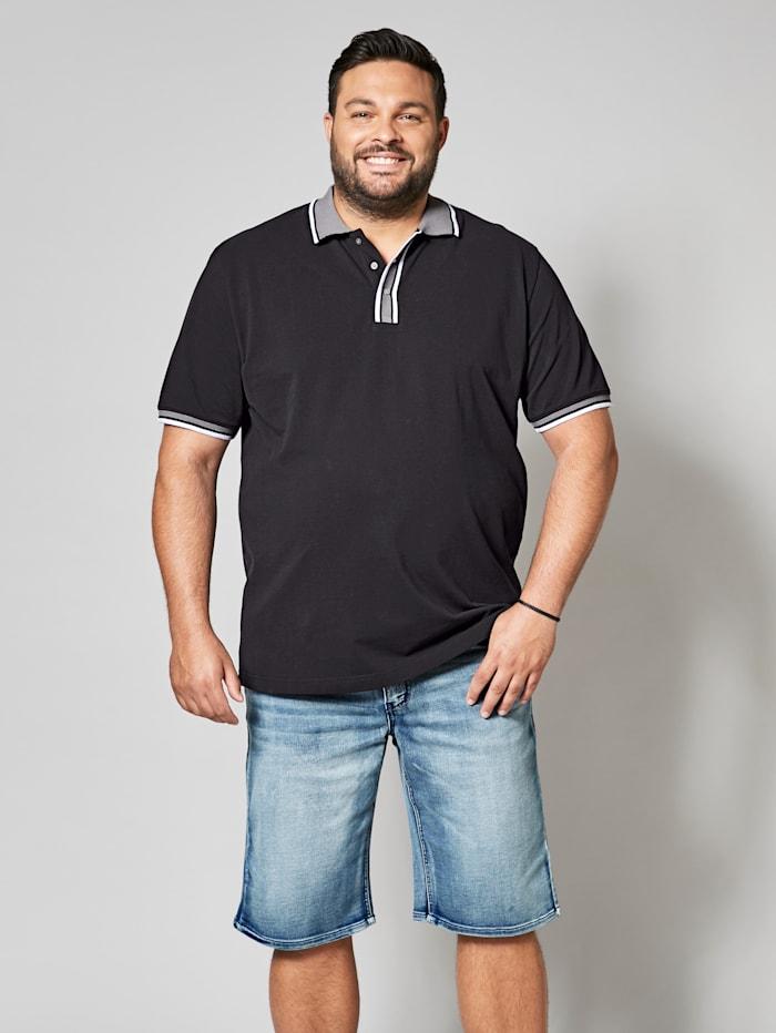 Men Plus Poloshirt mit garngefärbten Streifen, Schwarz